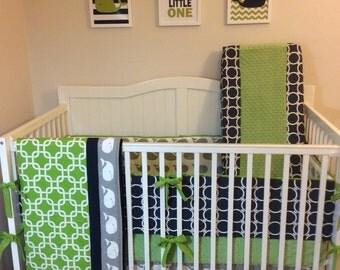 Lime Green Gray and Navy Nautical Baby Boy Crib Bedding