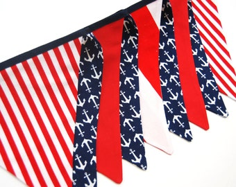 Red and Navy Nautical Party Bunting Banner, Baby Boy Shower Decoration, Ahoy Anchors Away -- Photo Prop, Photography -- SALE, Ready to Ship