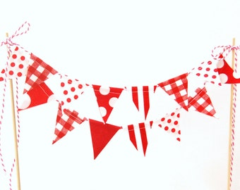 Red & White Cake Banner Bunting, Strawberry Shortcake Birthday Cake Topper - Mini Fabric Flags, 1st Party Decor, Little Red WagonBaby Shower