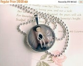 "SUMMER SALES EVENT Glass Art Necklace ""The Fencer"" Pendant and Chain 1 inch with Organza Bag -  Cute little Fencing Girl in Light Lavender T"