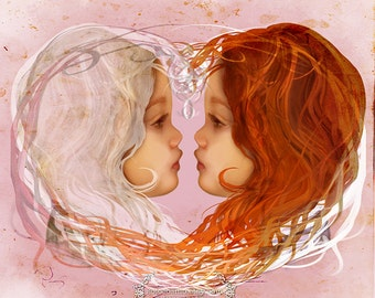 Medium Sized Artwork - 'Snow White and Rose Red' - Sisterly love - Fairy tale Storybook Fantasy illustration