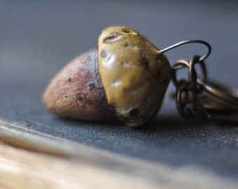 Ceramic Acorn Miniature Pendant, Charm Cluster, ready to hang on your favorite necklace!