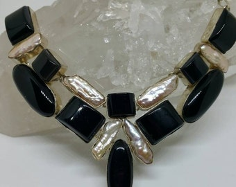 Black Onyx and Biwa Pearls Set in 925 Silver Necklace-Unique One of a Kind Gift for Her