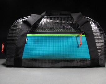 Carbon Fiber Sailcloth Duffle Bag - Sports Bag - Gear Bag - The Airstream - Black, Lime, Teal and Orange - Vegan