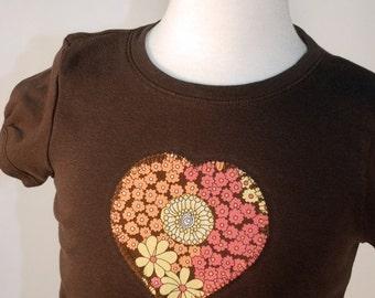 SALE Brown City Blossoms Heart Tee T-shirt New Girls Medium Boutique Custom