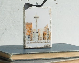 SEATTLE ORNAMENT Mixed Media Art Collage Encaustic Vintage Papers Space Needle Washington