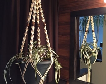 Macrame Plant Hanger Vanilla Color 4 WALNUT BEADS