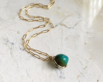 Small Wited Turquoise on Gold Filled Chain.