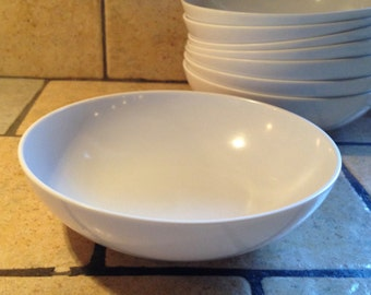 Set of 8 White Cereal or Soup Bowls by Texas Ware