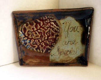 """small Plate, """" You Are Special """" message, handmade"""
