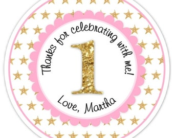Custom 1st Birthday Labels, 1st Birthday Stickers -  Pink and Gold Glitter Stars First Birthday, Personalized for you, Twinkle Little Star
