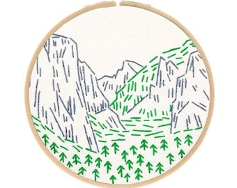 YOSEMITE embroidery kit - national parks, travel souvenir, hand embroidery kit, contemporary embroidery pattern by StudioMME