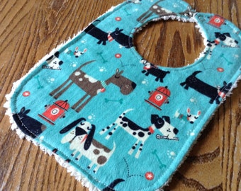 Chenille and Flannel Baby Bib,  Dogs, snap close, ready to ship