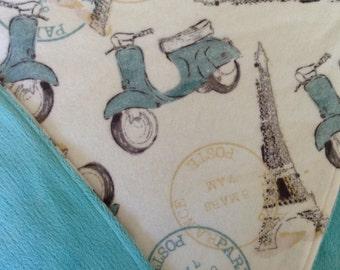 "Minky and Flannel Baby Blanket 30""x39"" Paris, Vespa, Eiffel Tower,"