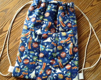 Quilted Backpack for Toddler Drawstring Closure, Rockets, ready to ship