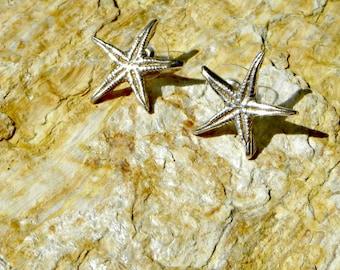 fine silver starfish post earrings