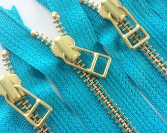 YKK metal zippers with gold brass teeth and DHR Wire style pull- (5) pieces - Teal 046- Available in 7 and 9 inches