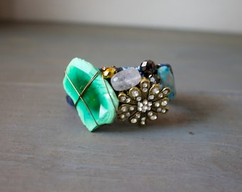 Funky Agate, Brooch and Trim Cuff