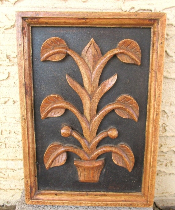 Vintage flower wood carving relief panel wall art hanging