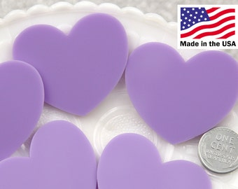 Heart Cabochons - 45mm Light Purple Heart Acrylic or Resin Cabochons - 4 pc set