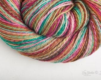 3ply (chain) dk weight sw merino self striping hand dyed Handspun yarn in Savasana - 298 yds