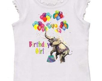 Girls Birthday tee shirt by Mumsy Goose girly tee any age Birthday shirt Circus Elephant