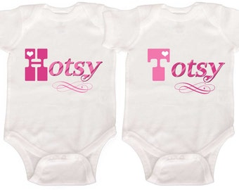 Funny Twin Girls Rompers by Mumsy Goose Twin Girl Creepers Retro Rompers