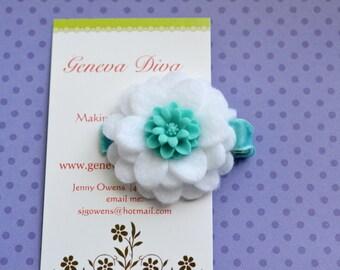 Aqua and White Felt Flower Clip with Mum Button Center
