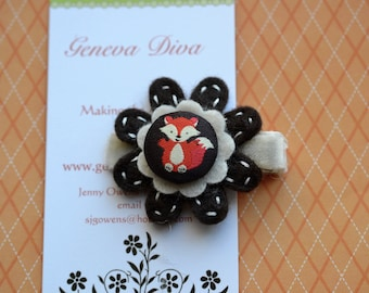 Little Red Fox.....Handstitched Felt Flower Hairclip