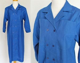 80s Button Front Linen Dress / Sheath Dress / Cobalt Blue / Leslie Fay / Small to Medium