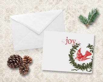 Christmas Cards Holiday Joy Red Bird Note Card Invitation NCC003