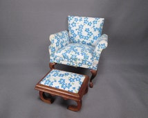 Vintage Dollhouse Furniture - Queen Anne Club Chair and Footstool - Block House - One Inch Scale