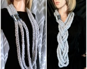 The Strands - Infinity Scarf in Whisper Gray - Lace, Denim and Metal Button Detail - Wool Yarn - Multiple Wearing Options
