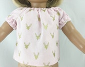 """Doll Peasant Top Fits 15"""" and 18"""" Sized Dolls Light Pink with Metallic Gold Stag Deer Heads Girls Toy"""