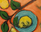 """With Pears - Original Acrylic Oil Encaustic Still Life Painting 8""""x 8"""""""