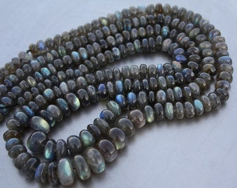 """Very Nice Gem Blue Fire Labradorite Smooth Rondelle Beads Large 6-11mm full 18"""" strand 200ct weight"""