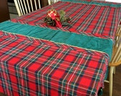 Large Red Plaid Tablecloth Green Inserts Tassels Christmas Table Decor 1990s Rectangular