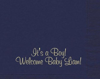 Wedding or Baby shower!  Pack of 50 thick plush napkins with your wording!  Any color napkin.  Any color ink or foil ink.
