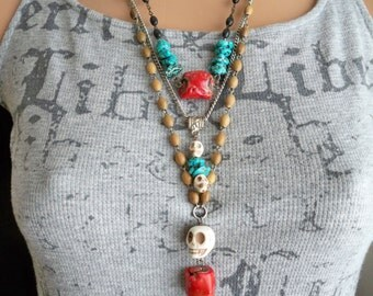 Rosary chain necklace recycle - coral nugget - Turquoise beads Vintage black rosary chain - One of a Kind bycat