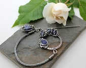 Celtic Brooch - Sterling Silver and Tanzanite - silver wire woven brooch