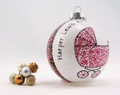 Baby carriage ornament - Personalized custom hand painted glass ornament