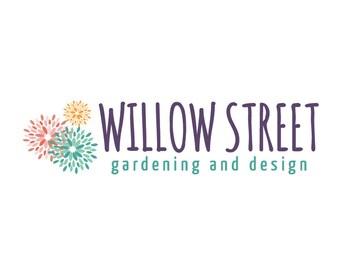 Premade Logo Design - Dahlias Boutique Logo, Digital Logo, Garden Logo, Flowers Logo