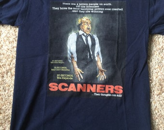 SCANNERS navy blue horror movie shirt Men's SMALL Cronenberg cult classic