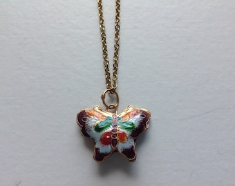 Painted Butterfly Pendant Necklace