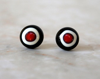 Red Black and White Fused Glass Post Earrings