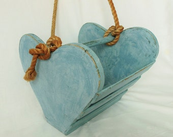 Hanging Planter Heart Shape Aqua DIY Garden Wedding Decor Nautical Porch Flower Wood Wooden Box Container Beach Cottage Aged Rope Teal Green