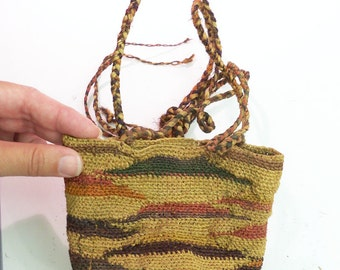 "Hand Woven Shigra Bag from Ecuador  natural fibers tiny weave 5 1/2"" tall Vintage possibly Antique SEE CONDITION NOTES"