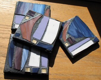 Purple and White Recycled Mosaic Coasters (Set of 4)