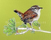 Wren - Embroidered Textile Art Canvas