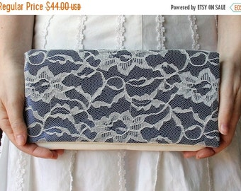 Blue Wedding Clutch -Navy Satin and Ivory Lace Clutch - LENA clutch -  Bridesmaid Gift Idea